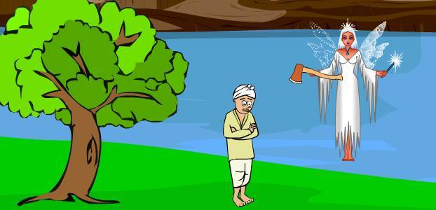 woodcutter story in hindi, honesty is the best policy story in hindi